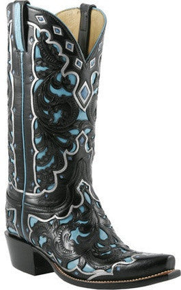Lucchese Classics L4680 Womens Hand Tooled Black Seminole W/ Emerald Blue Goat Boots