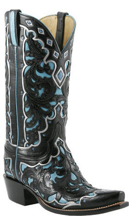 Lucchese L4680 Womens Hand Tooled Black Seminole W/ Emerald Blue Goat Classics Boots