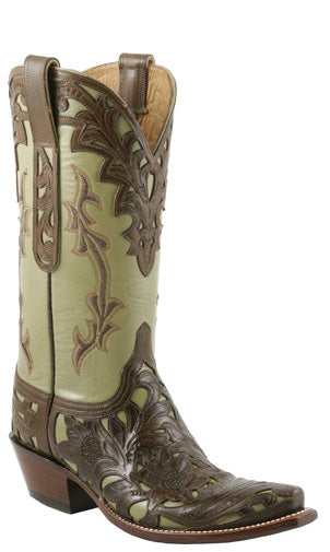 Lucchese L4683 Womens Chocolate Cheyenne Filigree Hand Tooled Sage Goat Boots