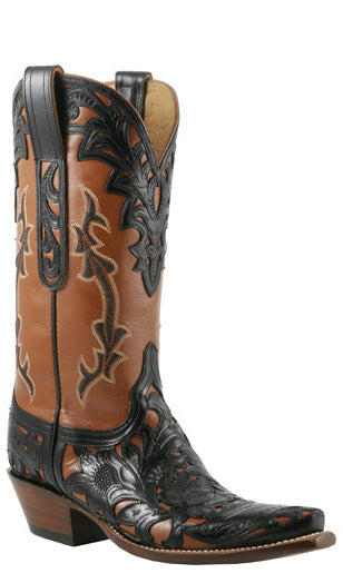 Lucchese Classics L4684 Womens Black Cheyenne Filigree Hand Tooled Pearwood Goat Boot