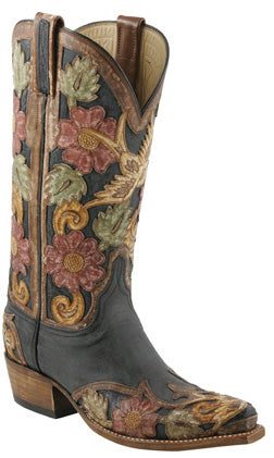 Lucchese L4690 Womens Destroyed Black Buffalo Brown Eden Filigree Hand Tooled Boots