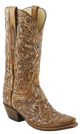 Lucchese L4692 Womens Destroyed Tan Seminole Hand Tooled Boots