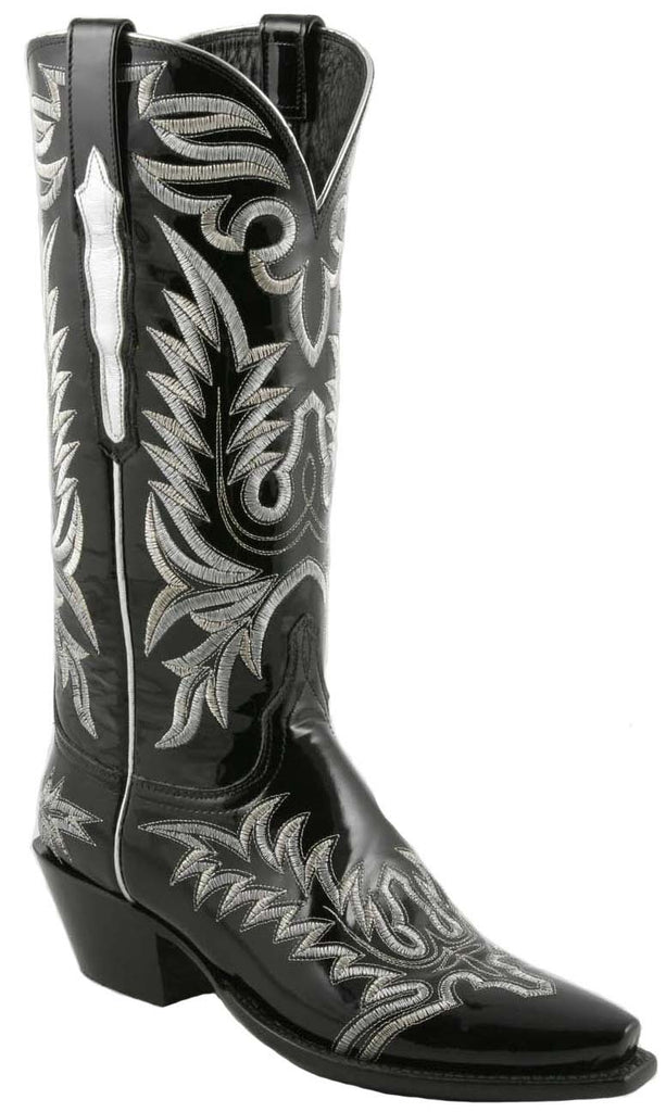 Lucchese Classics L4709 Womens Black Patent Calfskin Boot