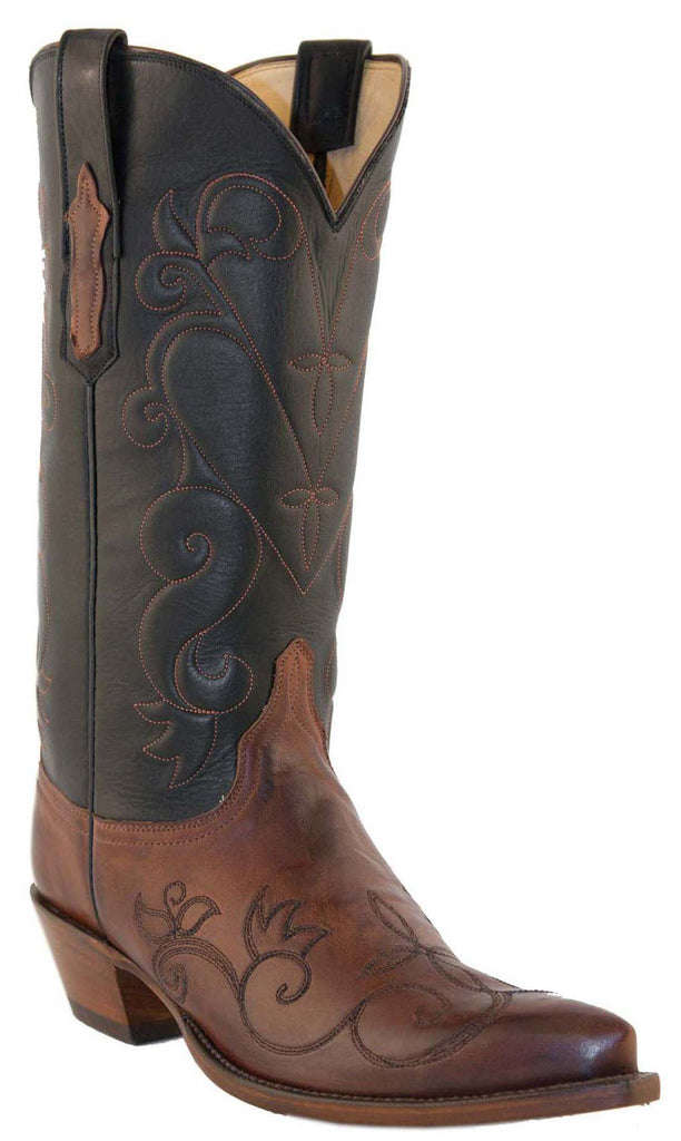 Lucchese L4712 Womens Tan Black Burnished Ranch Hand Calfskin Boots