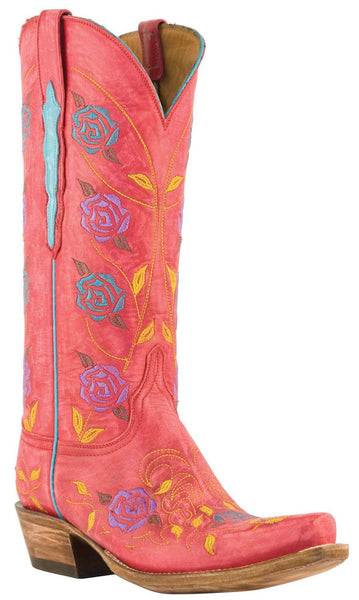 Lucchese L4714 Womens Destroyed Red Goat Boots