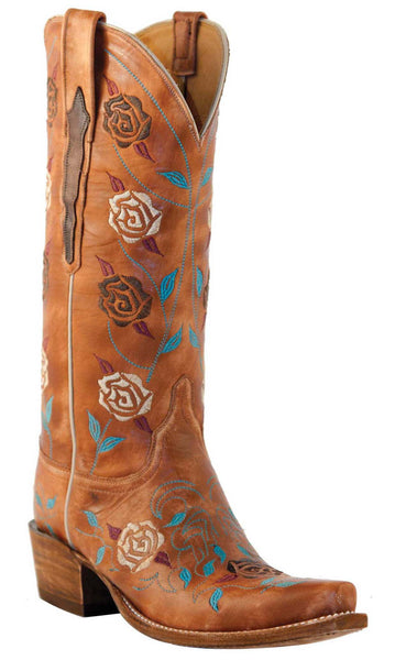 Lucchese L4715.S54 Womens Destroyed Pearwood Tan Goat Boots