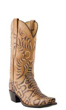 Lucchese Classics L4716.S54 Womens Sand Leopard Python Boots