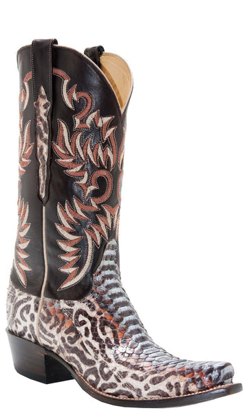 Lucchese L4717 Womens Natural Blue Petroglis Python Chocolate Burnished Ranch Hand Calfskin Boots