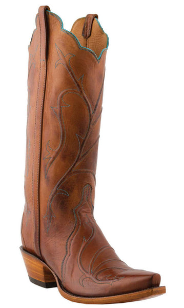 Lucchese L4719.54 Womens Cognac Burnished Ranch Hand Calfskin Triad Boots