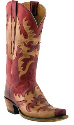 Lucchese L4722 Womens Red Burnished Mad Dog Goat Boots
