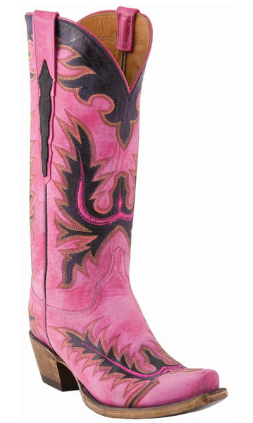 Lucchese L4726.S54 Womens Destroyed Hot Pink Goat Boots