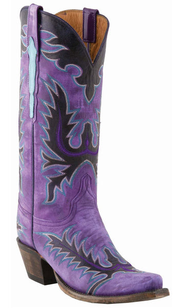 Lucchese L4729 Womens Purple Gromwell Destroyed Goat Classics Boots