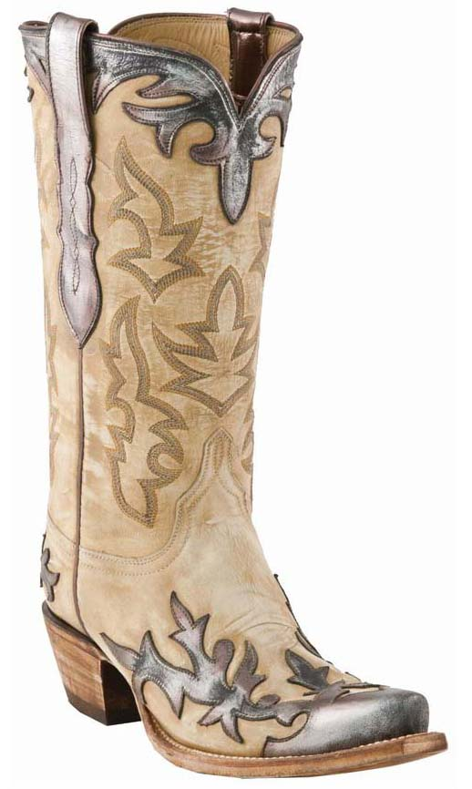 Lucchese Classics L4737 Womens Winter/Pewter Destroyed Goat Boots