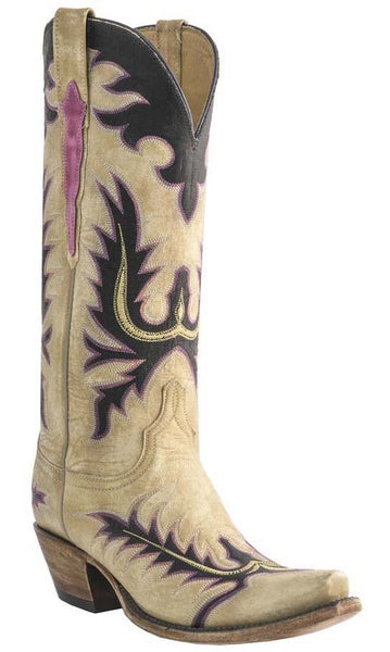 Lucchese L4740.S54 Womens Destroyed Winter Camel Goat Boots