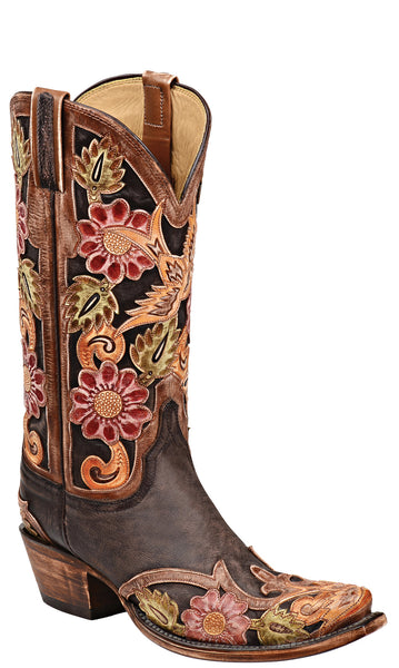 Lucchese L4755 Destroyed Dark Brown Goat Womens Classics Boots