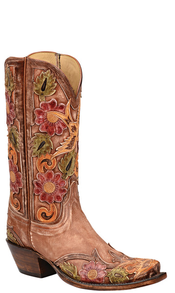 Lucchese L4756 Destroyed Pearwood Tan Goat Womens Classics Boots