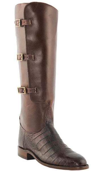 Lucchese Polo L4947 Womens Polo Lieutenant Barrel Brown Belly Caiman Crocodile Knee Boots