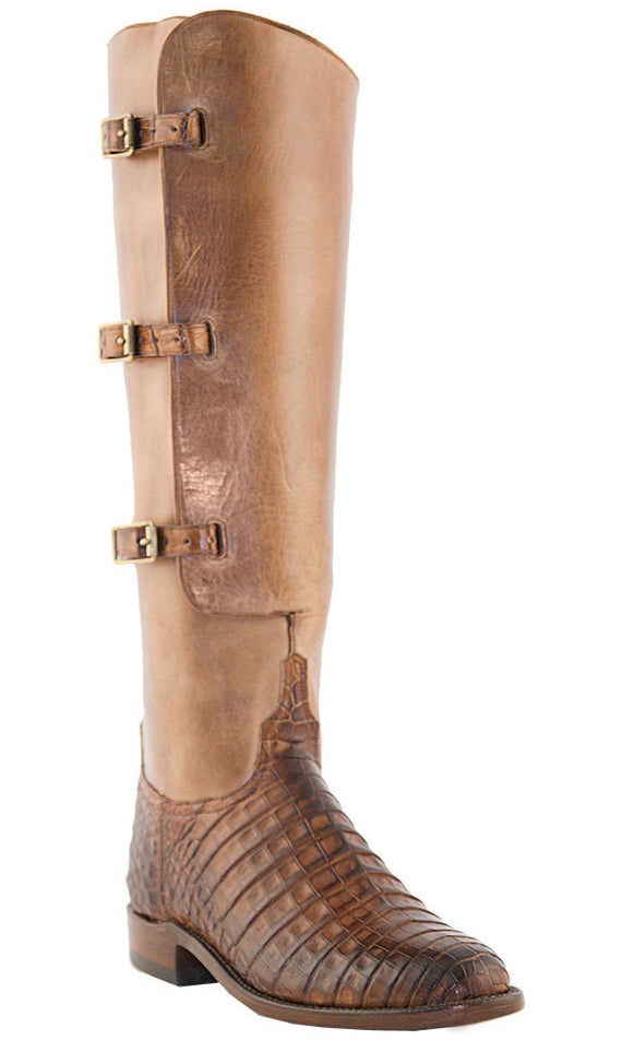 Lucchese Polo L4948 Womens Polo Lieutenant Tan Belly Caiman Crocodile Knee Boots