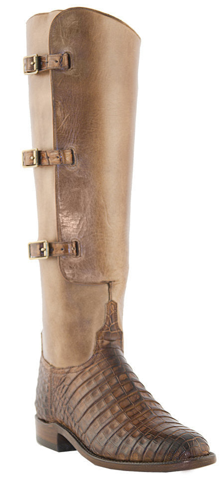 Lucchese Classics L4948 Womens Polo Lieutenant Tan Belly Caiman Crocodile Knee Boots