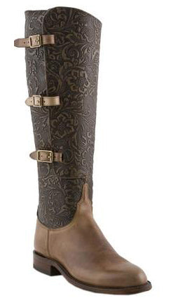 Lucchese Polo L4993 Womens Lieutenant Buck Oil Calfskin Tooled Floral Embossed Boots