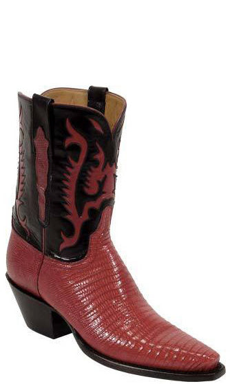 Lucchese Classics L7006 Womens Vintage Red Lizard Black Calfskin Cowboy Boot