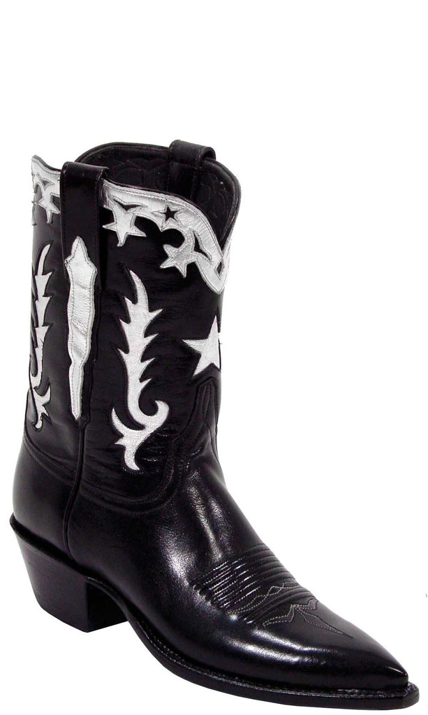 Lucchese L7012 Womens Vintage Black Buffalo Cowboy Boots
