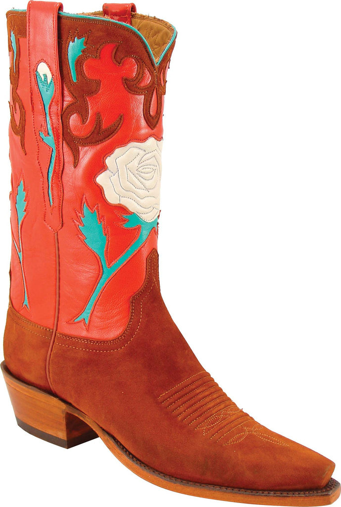 Lucchese Classics L7034 Womens Vintage Rust Suede Brick Goat Boot