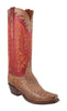 Lucchese L8006 Mens Tan Mad Dog Full Quill Ostrich Cowboy Boots