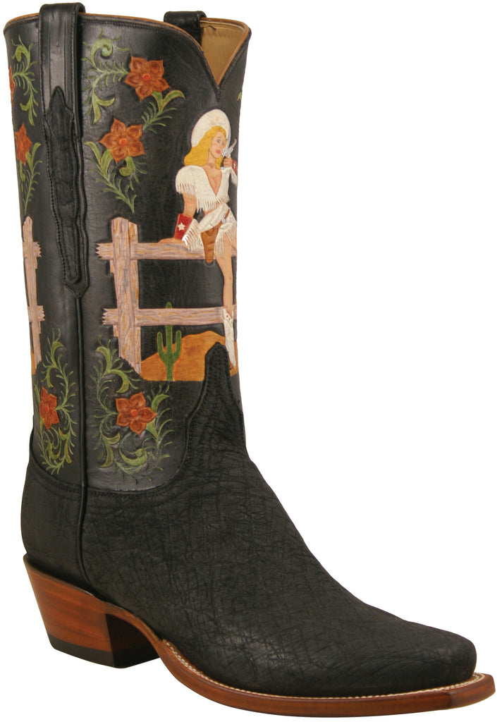 Lucchese Classics L8011 Mens Black Suede Elephant and Full Quill Ostrich Pinup Cowgirl Boot