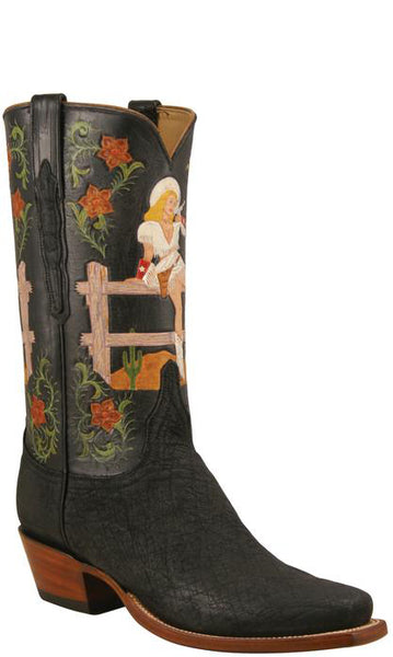 Lucchese Classics L8011 Mens Black Suede Elephant and Pinup Cowgirl Boots