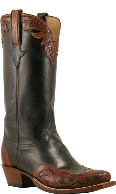 Lucchese Classics L8014 Mens Black Buffalo Hand Tooled Boot