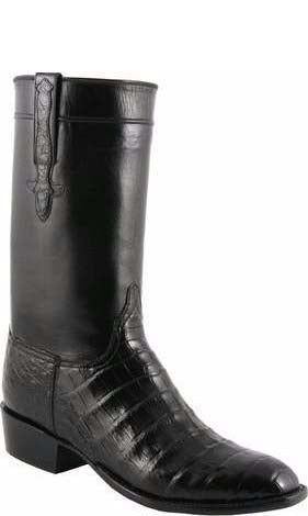 Lucchese L9475 Black Ultra Belly Caiman Crocodile Mens Classics Boots
