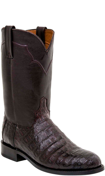 Lucchese DUSTIN M0702.C2 Mens Black Cherry Caiman Crocodile Boots
