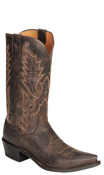 Lucchese LEWIS M1002.S54 Mens Chocolate Brown Madras Goat Boots