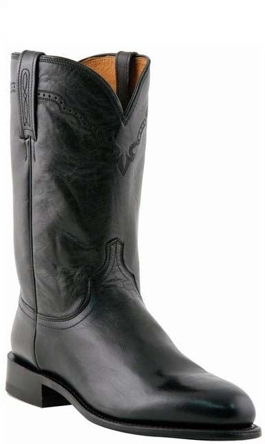 Lucchese M1010.C2 LAWRENCE Mens Black Lonestar Calfskin Roper Boots