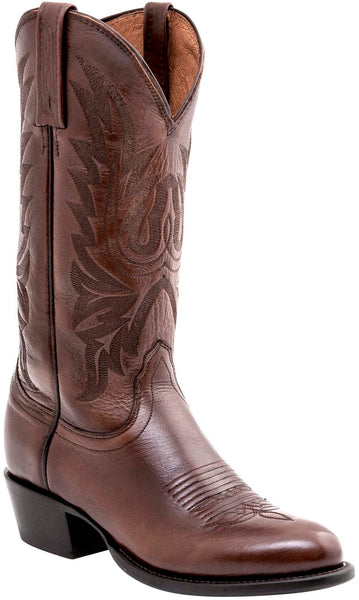Lucchese Carson Mens Antique Brown Lonestar Calfskin Cowboy Boots M1022.R4