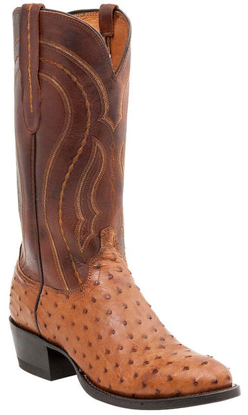 Lucchese Montana M1606.R4 Mens Tan Burnished Full Quill Ostrich Boots
