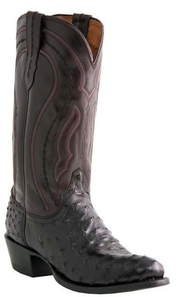 Lucchese MONTANA M1608.R4 Mens Black Full Quill Ostrich Cowboy Boots