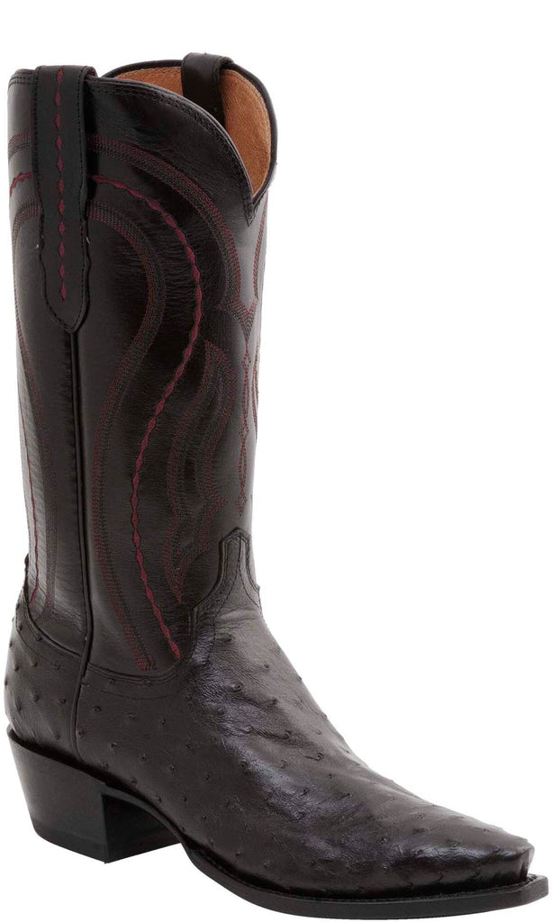 Lucchese MONTANA M1609.74 Mens Black Cherry Full Quill Ostrich Boots