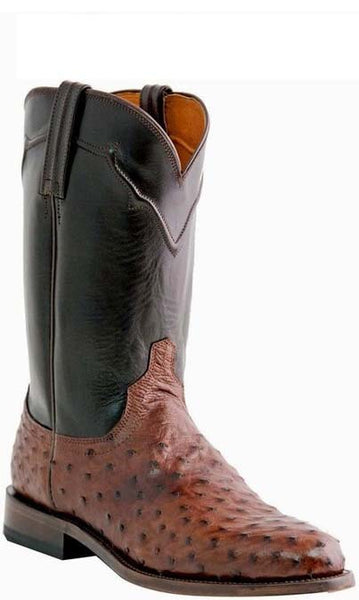 Lucchese M1631.C2 COLEMAN Mens Brown Full Quill Ostrich Roper Boots