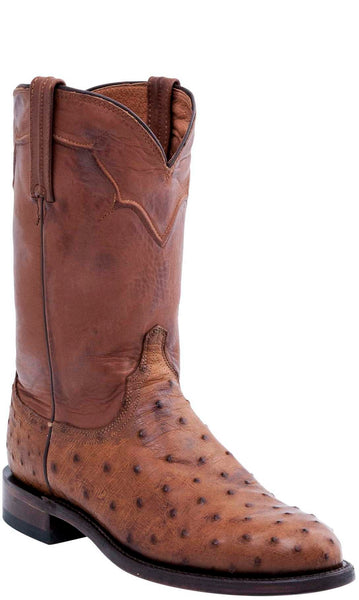 Lucchese COLEMAN M1633.C2 Mens Tan Burnished Full Quill Ostrich Roper Boots