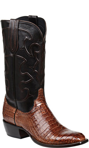 Lucchese CHARLES M1635.14 Mens Sienna Brown Caiman Crocodile Belly Boots Size 12 EE STALL STOCK