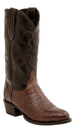 Lucchese CHARLES M1635.R4 Mens Sienna Brown Caiman Crocodile Belly Boots Size 12 D STALL STOCK