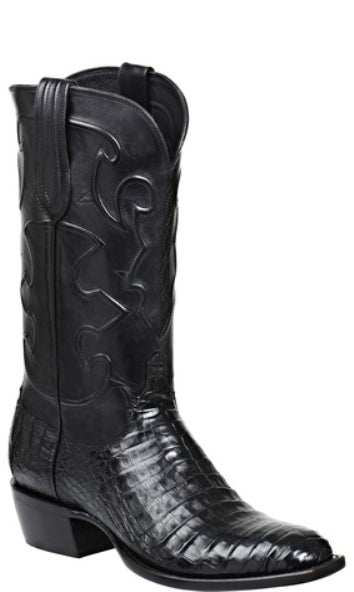 Lucchese CHARLES M1636.14 Mens Black Caiman Crocodile Belly Boots