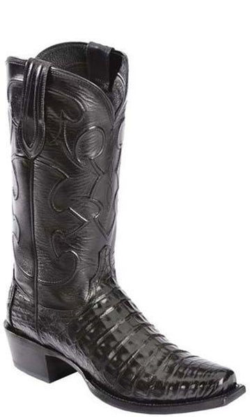 Lucchese CHARLES M1636 74 Mens Black Caiman Crocodile Belly Boots