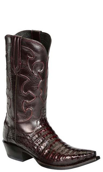 Lucchese CHARLES M1637.S54 Mens Black Cherry Caiman Crocodile Belly Boots