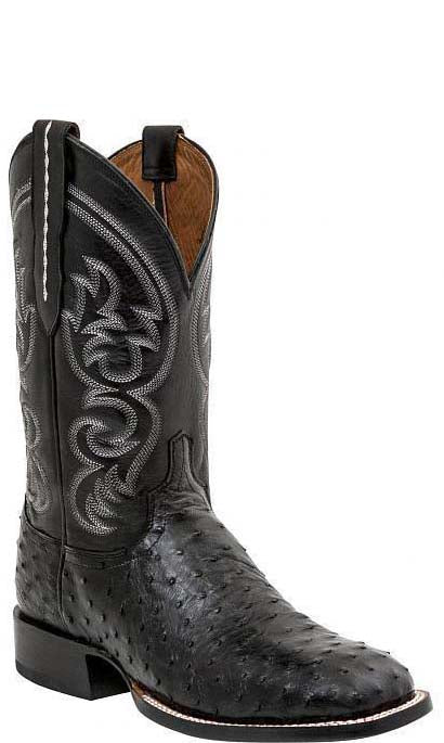 Lucchese JOSH M2697.WF Mens Black Full Quill Ostrich Boots