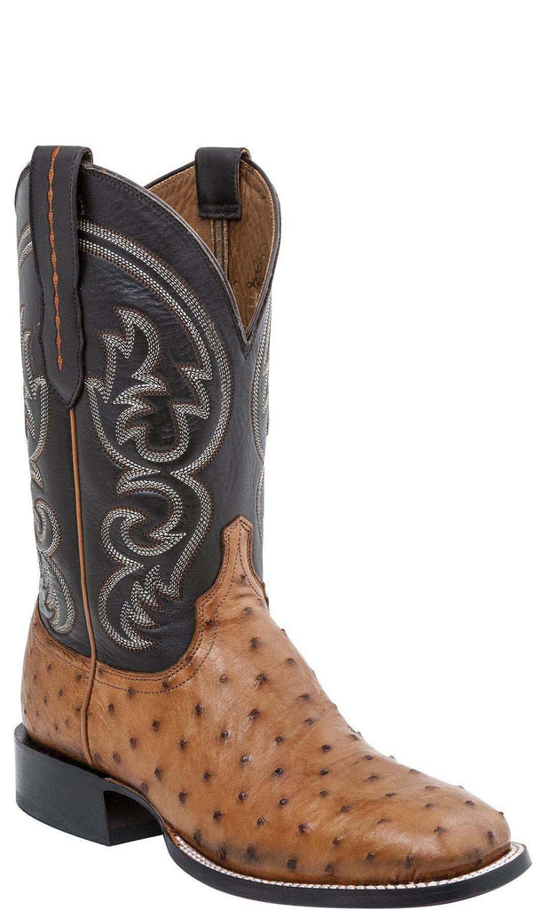Lucchese JOSH M2698.WF Mens Tan Burnished Full Quill Ostrich Boots