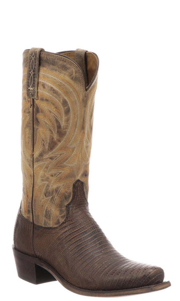 Lucchese PERCY M2904.74 Mens Antique Tan Lizard Boots