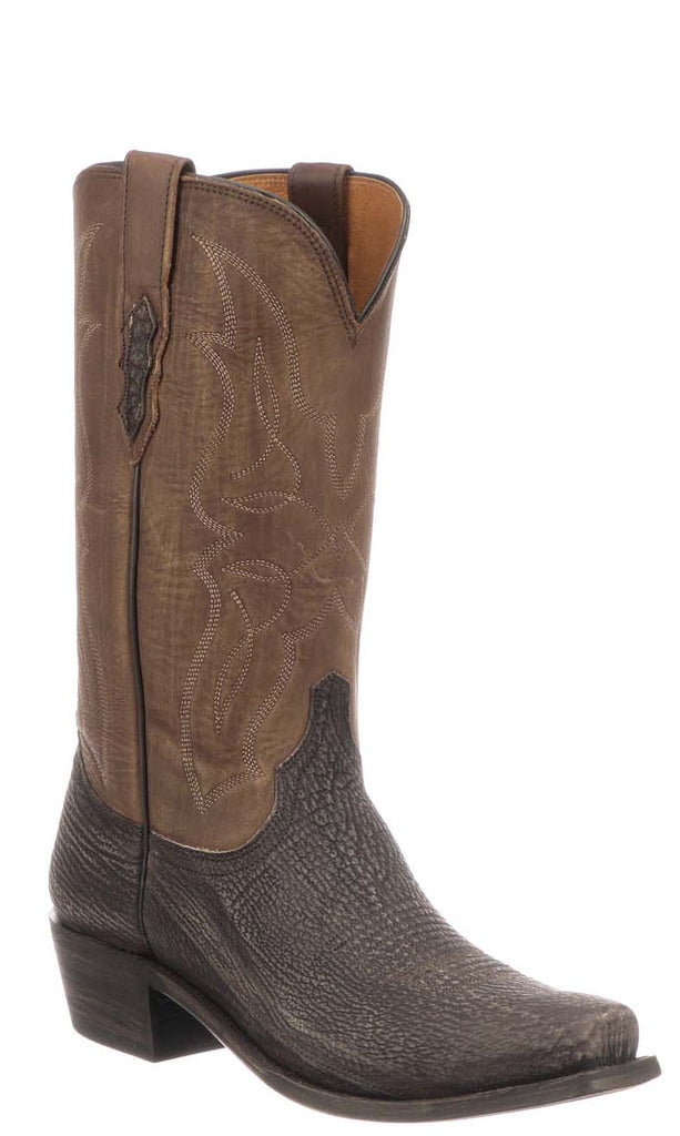 Lucchese Carl Mens Chocolate Brown Sanded Shark Cowboy Boots M3105.74
